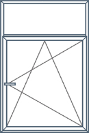 Dviejų dalių langas su neatidaromu viršumi. Apatinė dalis atidaroma trimis kryptimis