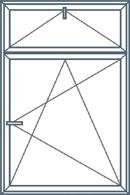 Dviejų dalių langas su atidaromu viršumi. Apatinė dalis atidaroma trimis kryptimis