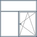 Trijų dalių langas su neatidaromu viršlangiu. Viena apatinė dalis atidaroma trimis kryptimis