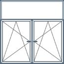Trijų dalių langas su neatidaromu viršlangiu. Abi apatinės dalys atidaromos trimis kryptimis