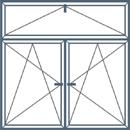 Trijų dalių langas su atidaromu viršlangiu. Abi apatinės dalys atidaromos trimis kryptimis